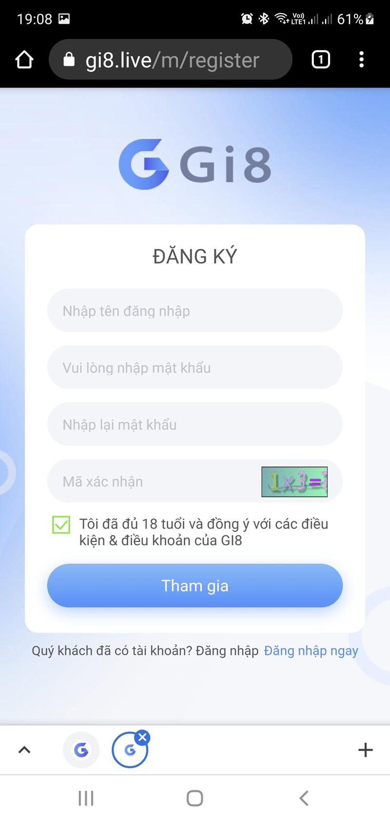 Hướng dẫn đăng ký tài khoản Gi8 - App lô đề 1 ăn 99
